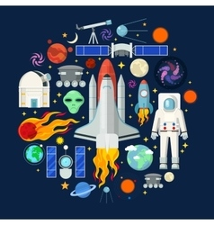 Space icons set with planets stars and astronaut vector