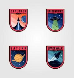 Space mission patches logo sets premium badges vector