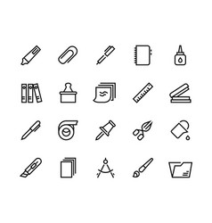 stationery line icons school and office supplies vector image