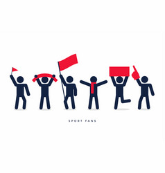 stick figures of sport fans cheering team vector image