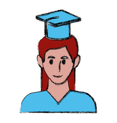 student with hat avatar vector image