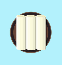 three white rolled vector image