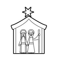 Traditional family christmas manger scene virgin vector