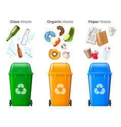 trash and recycling set vector image