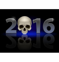 Twenty-sixteen with skull vector image