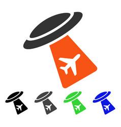 Ufo abduct plane flat icon vector