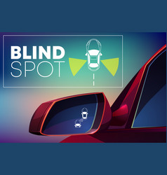 Vehicle blind spot monitor assist cartoon vector