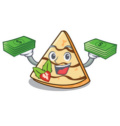 with money bag crepe mascot cartoon style vector image