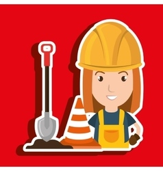 Woman shovel warning construction vector
