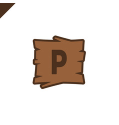 wooden alphabet or font blocks with letter p vector image
