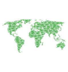 world atlas collage of emergency exit items vector image