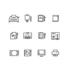 Writing tools linear icons vector image