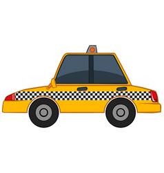 Yellow taxi on white background vector