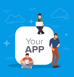 young men standing near big mobile app symbol vector image