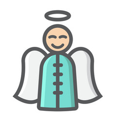 angel filled outline icon new year and christmas vector image