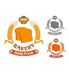 Bakery shop symbol with golden crispy toasts vector image vector image