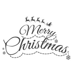 colourless merry christmas greeting card with text vector image