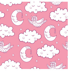 seamless childish pattern with cartoon owl fluffy vector image