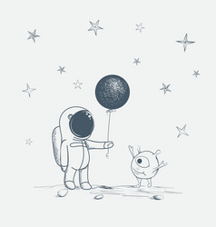 astronaut gives a balloon to alien vector image
