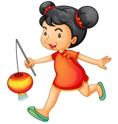 Cute chinese girl vector image
