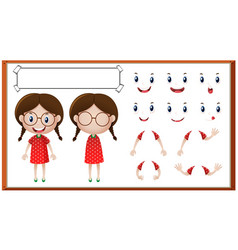 little girl with different facial expressions vector image vector image