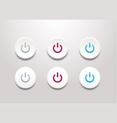 power button icon set - simple flat design vector image