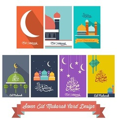 Seven Eid Mubarak Flat Design Card vector image vector image