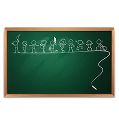 A chalkboard with a drawing of kids playing vector