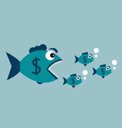 carnivorous fish with dollar vector image