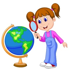 Cartoon girl using magnifying glass looking at glo vector image