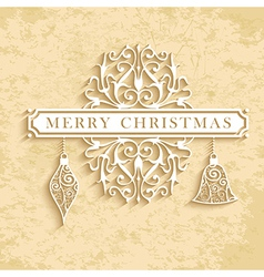 Merry Christmas vintage text card vector image