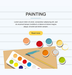 Painting web banner paints brushes pencil vector