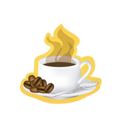 Sticker image color with hot cup of coffee serving vector