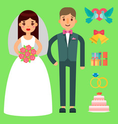 wedding bride and groom couple invitation vector image vector image