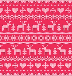 Winter Christmas red seamless pixelated pattern vector image