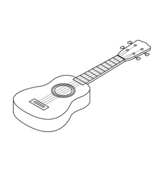Acoustic bass guitar icon in outline style vector image