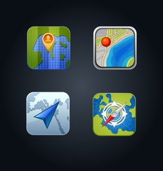 apps GPS icon set vector image