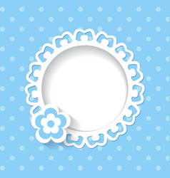 blue background with a frame and a flower vector image