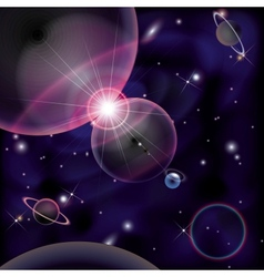 Cosmic Bright Background space planets collision vector image vector image