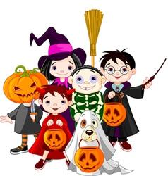 halloween children trick or treating in halloween vector image vector image