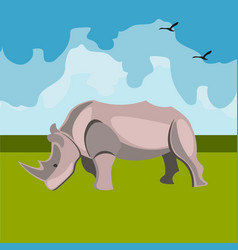 icon of the rhinoceros animals of africa vector image
