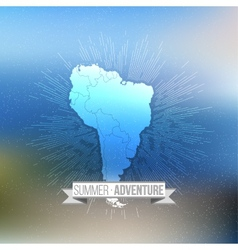 Summer adventure poster South america map with vector image vector image