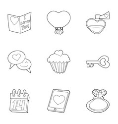 valentine day and wedding icons set outline style vector image vector image