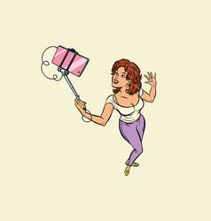 woman making selfie on smartphone vector image