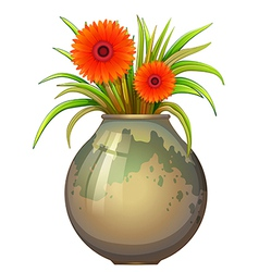 A big pot with a flowering plant vector