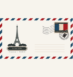 An envelope with a postage stamp with eiffel tower vector