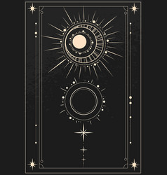 Astronomical ornament with sun moon and stars vector