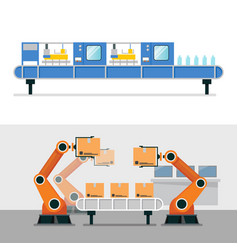 automation robot arm and belt machine in smart vector image