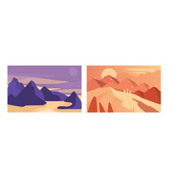 beautiful mountain landscapes set serenity scenes vector image