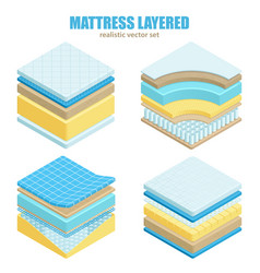 Bed mattress layers orthopedic set vector